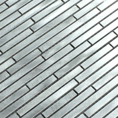Aluminium Alu Metall Mosaik Fliesen Schwarz Mix Stripes