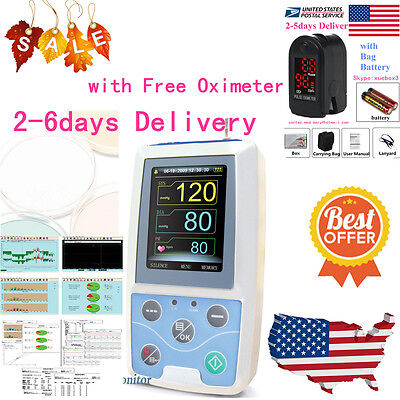 NIBP Monitor 24HOUR Ambulatory Blood Pressure Holter ABPM 50+SOFTWARE+Oximeter 10