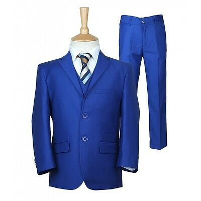 Boys Formal Navy Blue Suits 5PC Boy Wedding Suit Prom Party Pageboy Italian Cut