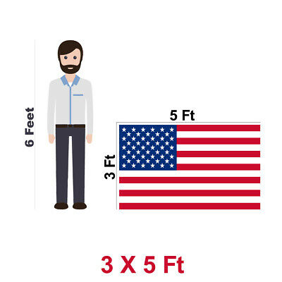 2-PACK | American Flag US USA | 3x5ft | Embroidered Stars, Sewn Stripes 8