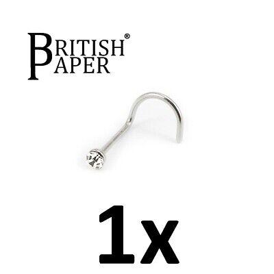 Uk Silver Nose Stud Straight I L Screw Shape Surgical Steel Pin Set Bar Piercing 3