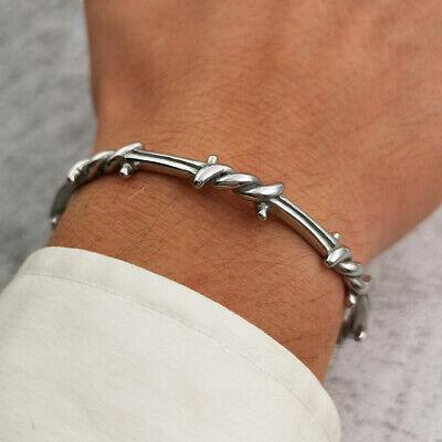 Bracciale da uomo in acciaio inox rigido braccialetto con filo spinato 4