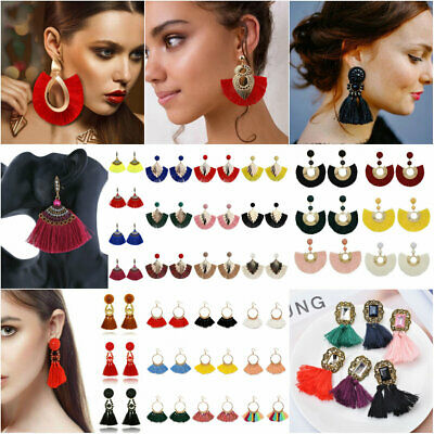 Large Bohemian Tassel Earrings Women Handmade Fringe Earrings Statement Jewelry 8