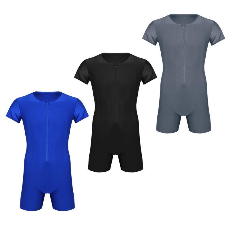 Herren Body Einteiler Zipper Overall Boxer Briefs Bodysuit Unterhemd mit Bein 4