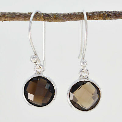 Brown 925 Sterling Silver genuine excellent Smoky Quartz jewelry Earring AU gift 2