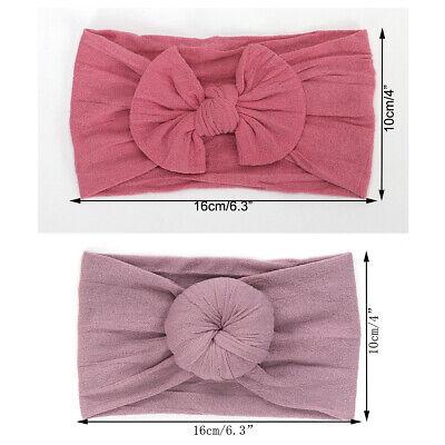 Baby Girls Bow Bun Turban Headband Hair band Head Wrap Cute Kids Plain Stretch 10
