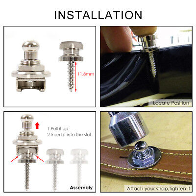 1 Pc Strap Lock Button Schaller Style for Guitar Bass Parts Round Head Chrome 7