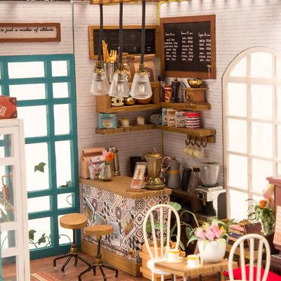 Robotime DIY Dollhouse Kit Miniature Modern Cafe with Furniture LED Gift Girls 7