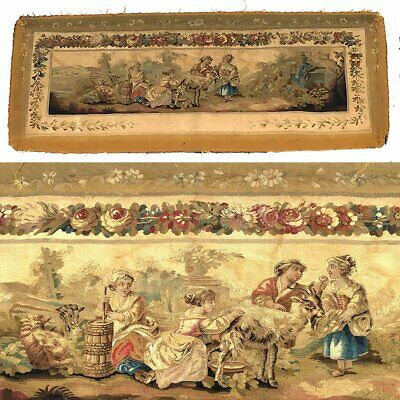 """RARE 55.5"""" Long Antique French Aubusson Tapestry Fragment, Sofa Panel, Figural 9"""