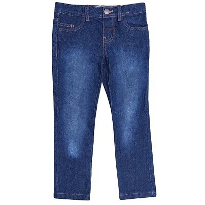 Boys Blue Black Wash Denim Contrasting Brown Stitching Cotton Skinny Jeans2-6yrs 4