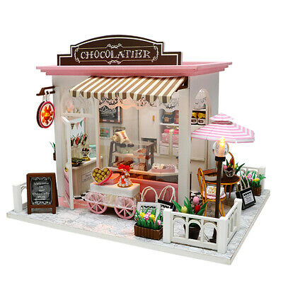 Doll House Wooden Dollhouse Miniature Assembling 3D Puzzle Toy DIY Kit LED Light 5