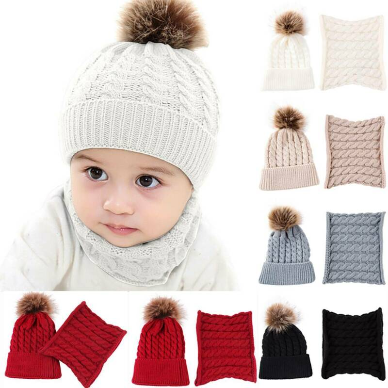 Baby Toddler Kids Boy Girl Winter Warm Knitted Pom Pom Beanie Hat Cap Scarf Sets 6