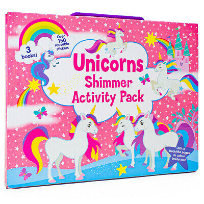 Unicorns Shimmer Activity Pack Kids Colouring Books & Stickers Set 2