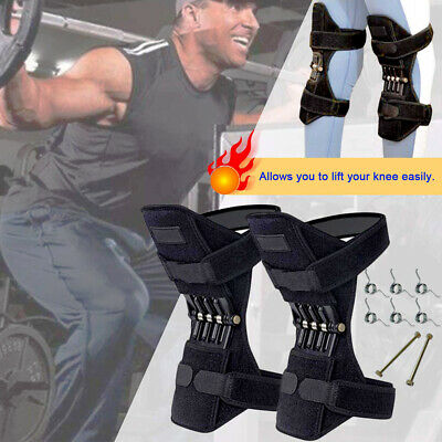 2X Knee Joint Support Brace Lift Booster Leg Pad Sport Spring Force Pain Relief 5