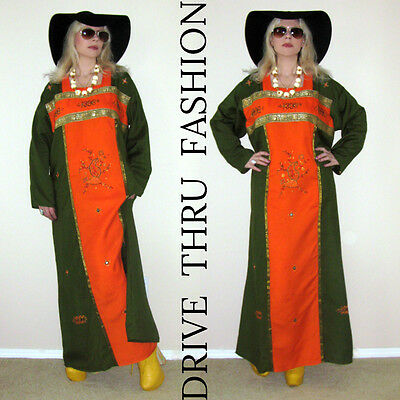 3c75f066bd974 ... Vtg 70s Boho Hippie EMBROIDERED Brocade Maxi FESTIVAL Ethnic Dress  CAFTAN Tunic 3