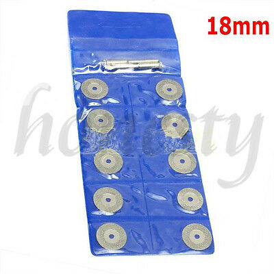 10pcs Diamond Saw Blade Cutting Disc Rotary Wheel Grinding +2 Mandrel Dremel 8