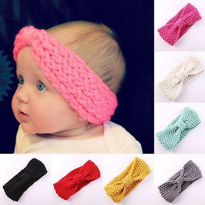 Bébé Fille Bandeau Papillon Nœud Crochet Enfant Serre-tête Cheveux Turban Mignon 4