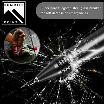 Tactical Pen Emergency Steel Knife Glass Breaker Survival LED Flashlight 2