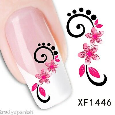 Nail Art Water Decals Wraps Transfers Flowers Gel Polish Uv Tips