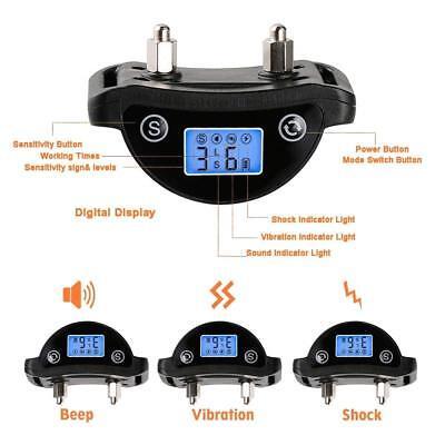 Rechargeble LCD Automatic Anti Bark No Barking Tone Shock Dog Training Collar 7