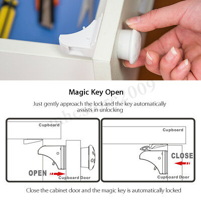 ❤ 10PCS Magnetic Cabinet Drawer Cupboard Locks Baby Kids Child Safety 3