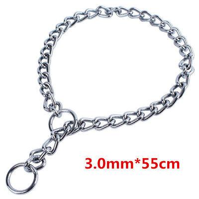 Pet Dog Puppy Choke Chain Choker Collar Strong Silver Metal Training 4 Sizes