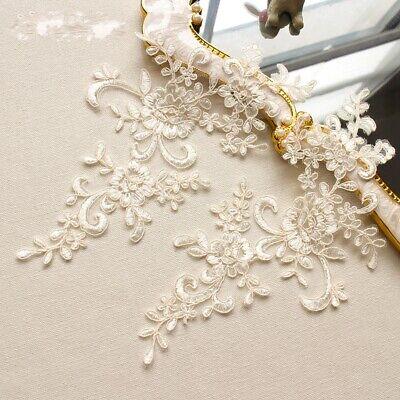 1Pair Embroidered Flower Lace Applique Motif Trim Wedding Dress Sew Crafts DIY 1 6