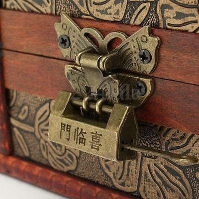 Large Decorative Trinket Jewelry Lock Chest Handmade Wooden Storage Box 6
