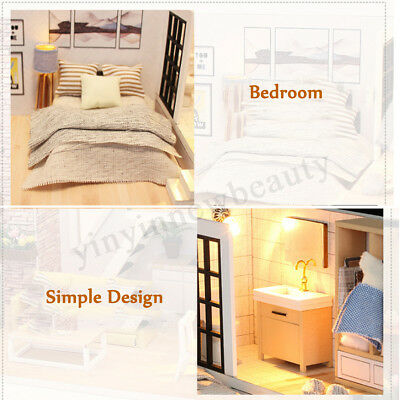 DIY LED Wooden Dollhouse Miniature Wooden Furniture Kit Doll House Kid's Toy AU 12