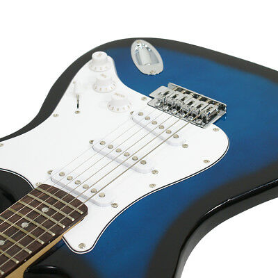 Full Size Blue Electric Guitar with Amp, Case and Accessories Pack Beginner 4