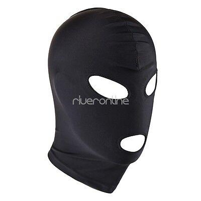 Kopfmaske Blickdicht Unisex Strecken Maske mit Augen und Mund Dessous Schwarz 2