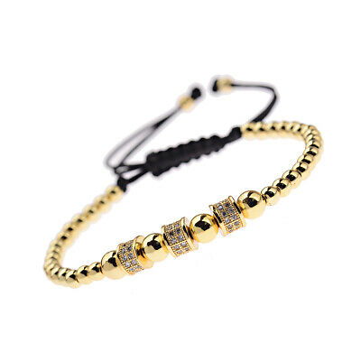 Luxury Jewelry Women Men's Micro Pave CZ Crown Braided Adjustable Bracelets Gift 11