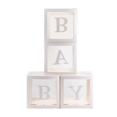 4Pc Boy Girl Baby Shower Party Decorations Transparent Cardboard Box  Xmas Gift 6