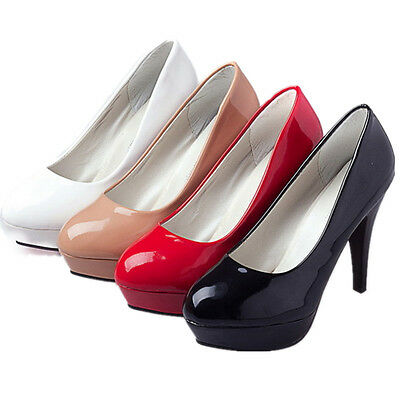 b54214e80724 ... Womens Patent Leather Round Toe Stiletto High Heels Platform Pumps  Working Shoes 2