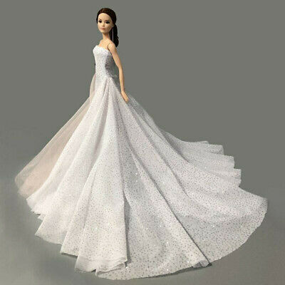 White Wedding Dress Gown for 11.5 inch Doll Evening Party Clothes for 1/6 Dolls 6