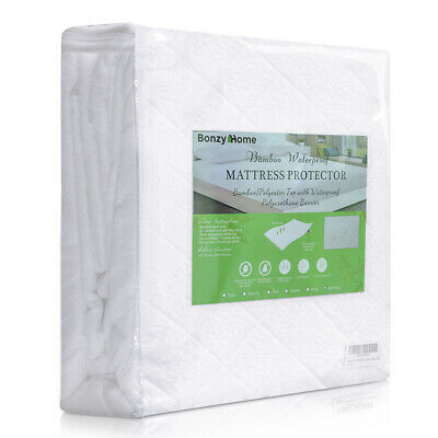 Bamboo Mattress Cover Fitted Bed Protector Pad Topper Twin King Queen Waterproof