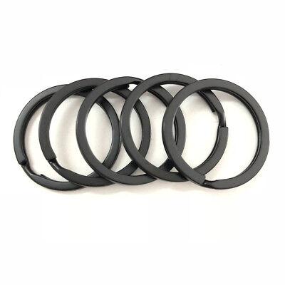 Strong Steel Solid Split Key Ring Black Metal Loop Flat Key Chain Holder 25-35MM 10