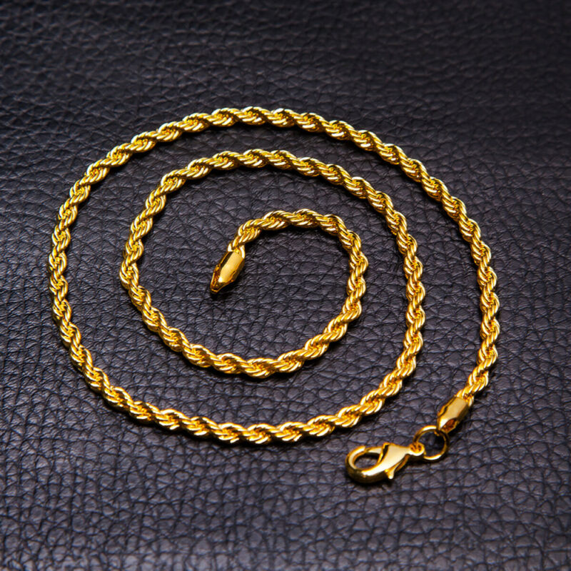5mm Men Womens 316L Stainless Steel Gold Twist Curb Link Chain Necklace Gift 4