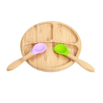 Baby Bamboo Suction Bowl and Matching Spoon Set, Stay Put Suction Feeding Bowl 6