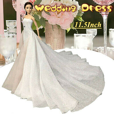White Wedding Dress Gown for 11.5 inch Doll Evening Party Clothes for 1/6 Dolls 2