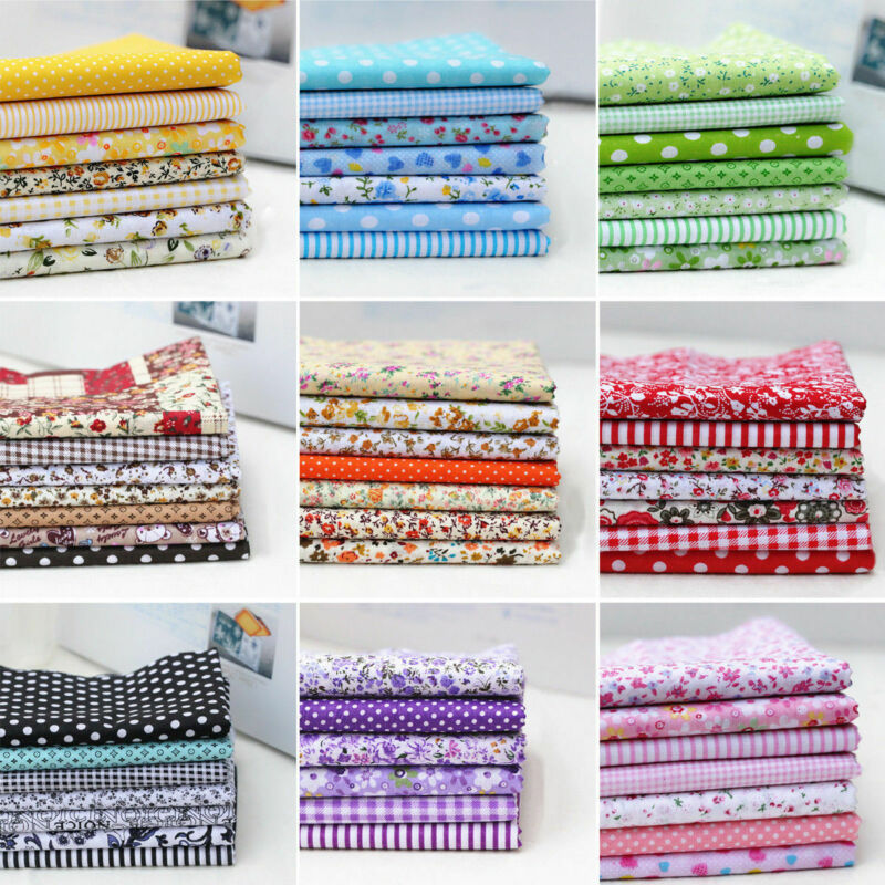 7PC Mixed Cotton Fabric Material Sewing Value Bundle Scraps Offcuts Quilting TOP 2