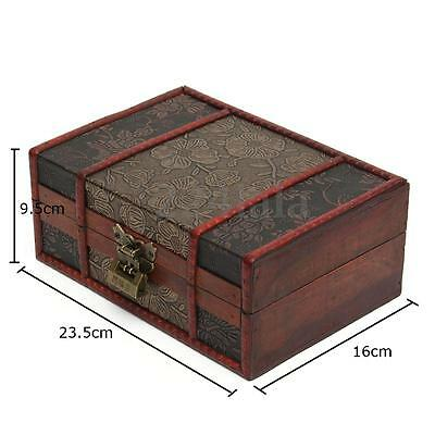 Large Decorative Trinket Jewelry Lock Chest Handmade Wooden Storage Box 7