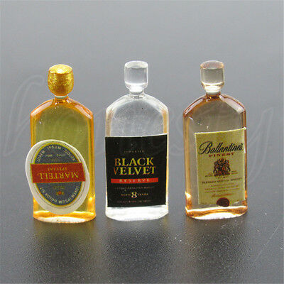 6pcs Dollhouse Miniature Wine Whisky Bottles Shop Pub Bar Drinks Accessory 9