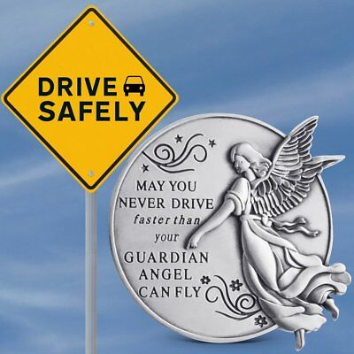 Pewter Guardian Angel with Granddaughter Never Drive Faster Banner Visor Clip 2 1//4 Inch