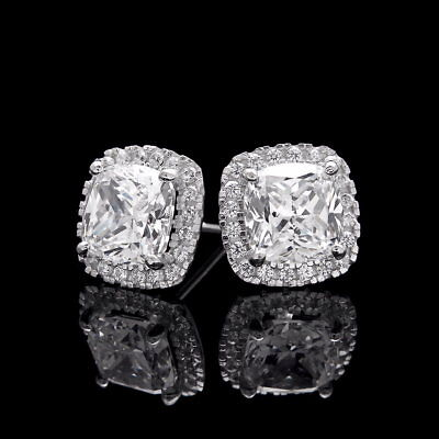 2 Ct Halo Cushion & Round Created Diamond Earrings 14K White Gold Square Studs 2