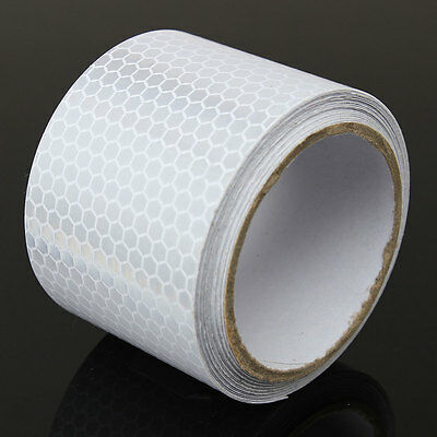 Silver White Car Reflective Safety Warning Conspicuity Roll Tape Film Sticker 6