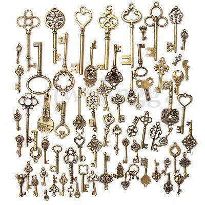 70Pcs Antique Vintage Old Look Bronze Skeleton Key Fancy Heart Bow Pendant Decor