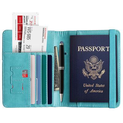 RFID Blocking Slim Leather Travel Passport Holder Credit Card Wallet Case Cover 11