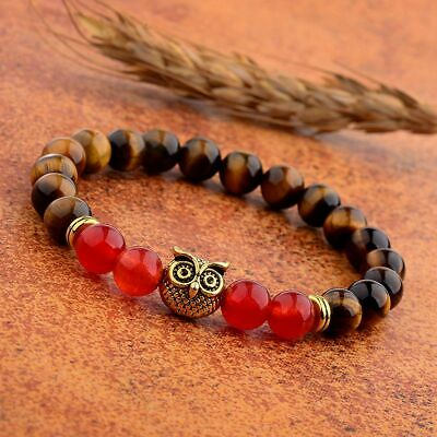 8MM Owl Buddha Beaded Natural Lava Stone Gold Silver Charm Fashion Men Bracelets 9