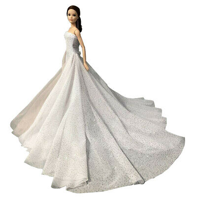 White Wedding Dress Gown for 11.5 inch Doll Evening Party Clothes for 1/6 Dolls 5